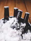 Bottles in ice Stock Photos