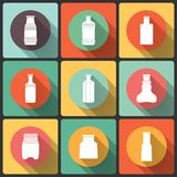Bottles icon set in Flat Design, s collection. Royalty Free Stock Image