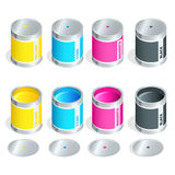 Bottles of ink in cmyk colors on white isolated background. Flat 3d vector isometric illustration. Bottles of ink in cmyk colors on white isolated background Stock Photos