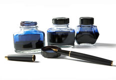 bottles with ink and  fountain pen Stock Photography