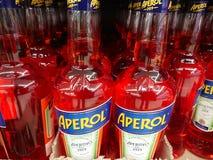 Bottles of Italian apéritif Aperol. Berlin, Germany - February 3, 2018: Bottles of Aperol. Aperol is an Italian apéritif made of bitter orange, gentian Royalty Free Stock Images