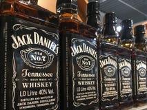 Bottles of Jack Daniel`s Whisky. Gorlice, Poland - May 13, 2017: Bottles of Jack Daniel`s Old No.7 Brand Whisky on store shelves for sale in Kaufland Hypermarket royalty free stock photo