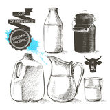 Bottles jar milk Royalty Free Stock Image