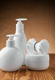 Bottles and jar with pads Stock Photography
