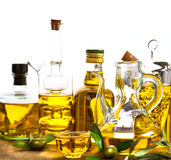 Bottles and jars of extra virgin olive Royalty Free Stock Photo
