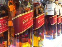 Bottles of Johnnie Walker whisky Stock Photography