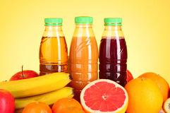 Bottles of juice Stock Images