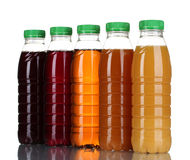 Bottles with juice stock photography