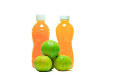 Bottles of juice. On a white background royalty free stock image