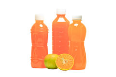 Bottles of juice. On a white background royalty free stock images