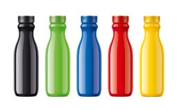 Bottles for juice, dairy drinks and other. Colored, not transparent version Royalty Free Stock Photos