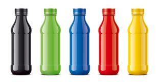 Bottles for juice, dairy drinks and other. Colored, not transparent version royalty free stock images