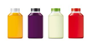 Bottles for juice drinks. Small size version Stock Images