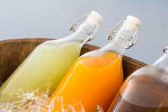 Bottles of juice Stock Photo