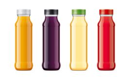 Bottles for juice and other drinks. Transparent bottles version royalty free stock photo