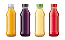 Bottles for juice and other drinks. Transparent bottles version. royalty free stock photo