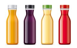 Bottles for juice and other drinks. Transparent bottles version. Royalty Free Stock Images