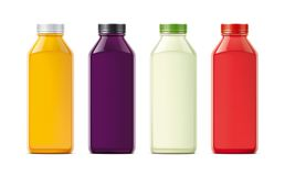 Bottles for juice, soda and other. Colored, not transparent version Stock Photos