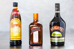 Bottles of Kahlua, Cointreau and Bailey's Royalty Free Stock Image