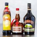 Bottles of Kahlua, Grand Marnier and Bailey's Stock Photos