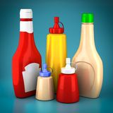 Bottles of ketchup, mustard and mayonnaise Stock Photography