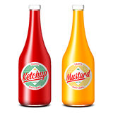 Bottles of ketchup and mustard Stock Photo