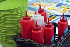 Bottles of ketchup and sauce Stock Images