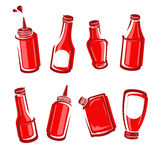 Bottles ketchup set. Vector Stock Image