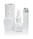 bottles kosmetiska paper handdukar Royaltyfri Bild