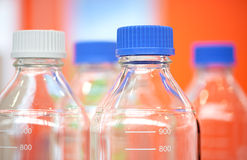Bottles in the laboratory Royalty Free Stock Photo