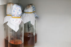 Bottles in laboratory Stock Photo