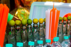 Bottles of local indian soft drink and straws Stock Images