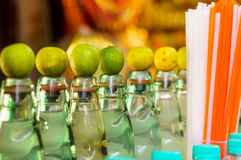 Bottles of local indian soft drink and straws Stock Image