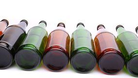 Bottles lying in perspective Royalty Free Stock Photography