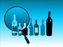 Bottles and magnifying glass. Abstract colored background with bottles and magnifying glass Royalty Free Stock Images