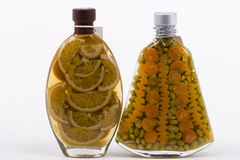 Bottles with Marinated Food Royalty Free Stock Image