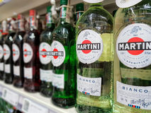 Bottles of Martini Bianco Vermouth. Nowy Sacz, Poland - June 16, 2017:Bottles of various types of Martini Bianco Vermouth on store shelves for sale in Tesco Stock Photo