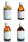 Bottles with medicines, collage. Bottle with the cure for the common cold on white isolated background collage Royalty Free Stock Photography