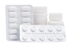 Bottles of medicines and pills in a blister pack Stock Images