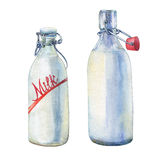 Bottles of milk. Hand drawn watercolor painting on white background stock illustration