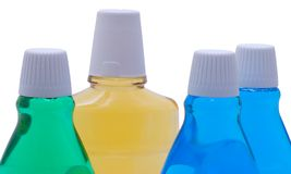 Bottles With Mint Mouthwash Royalty Free Stock Photography