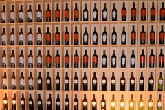 Bottles in the modern Hotel Cellar of Marques de Riscal Hotel, El Ciego, Spai. The modern hotel cellar of Marques de Riscal on September 10, 2016 in El ciego royalty free stock photography
