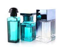 Bottles of modern male perfume. On white background Royalty Free Stock Image