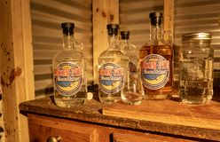 Bottles of Moonshine. At the Three Boys Farm Distillery in Central Kentucky royalty free stock images