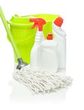 Bottles Mop And Bucket Isolated Stock Photos