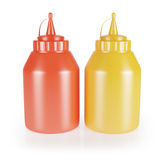 Bottles of  mustard and ketchup Royalty Free Stock Photo