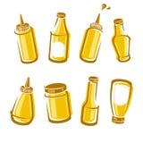 Bottles mustard set. Vector Royalty Free Stock Photo