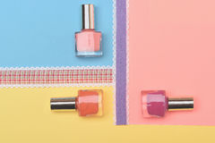 Bottles with nail polish royalty free stock images
