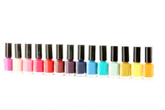 Bottles of nail polish. Isolated on a white Royalty Free Stock Photo