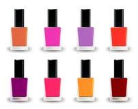 Bottles of nail polish in various shades. Vector Royalty Free Stock Photos